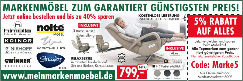 5% EXTRARABTT bei meinmarkenmoebel.de