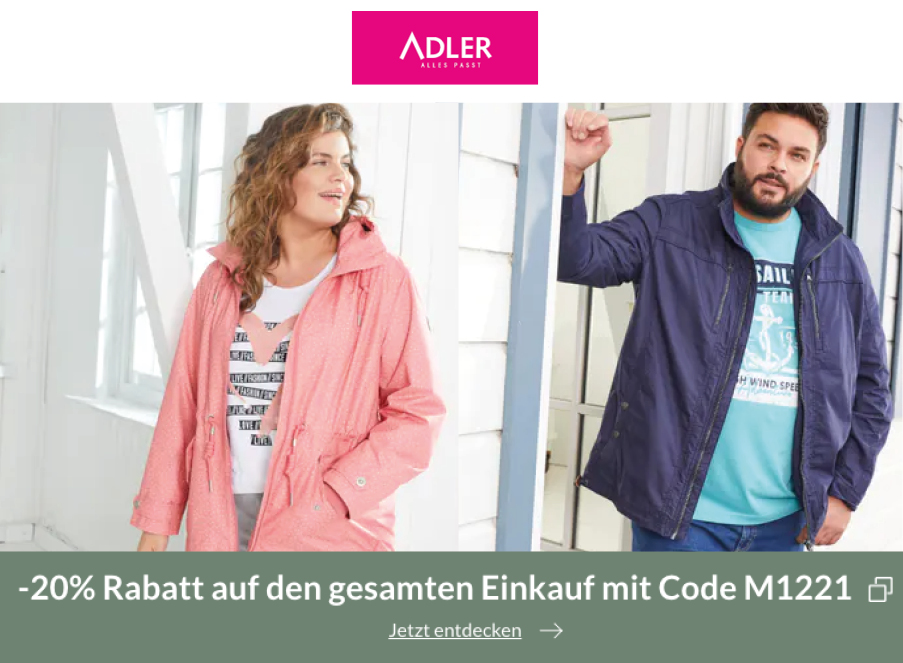 Adler Mode Rabatt Coupon